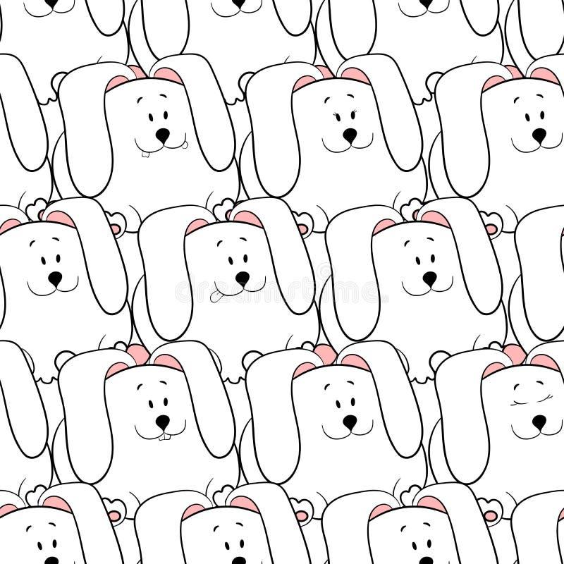 Διανυσματικό άνευ ραφής σχέδιο με τα hand-drawn αστεία χαριτωμένα παχιά ζώα Σκιαγραφίες των ζώων σε ένα άσπρο υπόβαθρο Σύσταση δι ελεύθερη απεικόνιση δικαιώματος