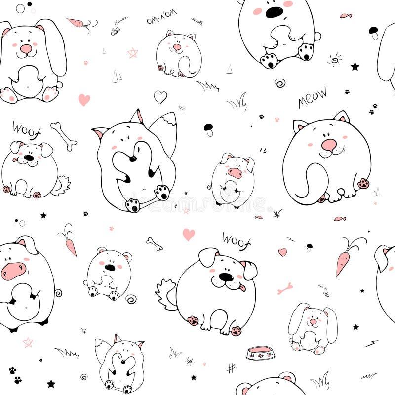 Διανυσματικό άνευ ραφής σχέδιο με τα hand-drawn αστεία χαριτωμένα παχιά ζώα Σκιαγραφίες των ζώων σε ένα άσπρο υπόβαθρο Σύσταση δι διανυσματική απεικόνιση