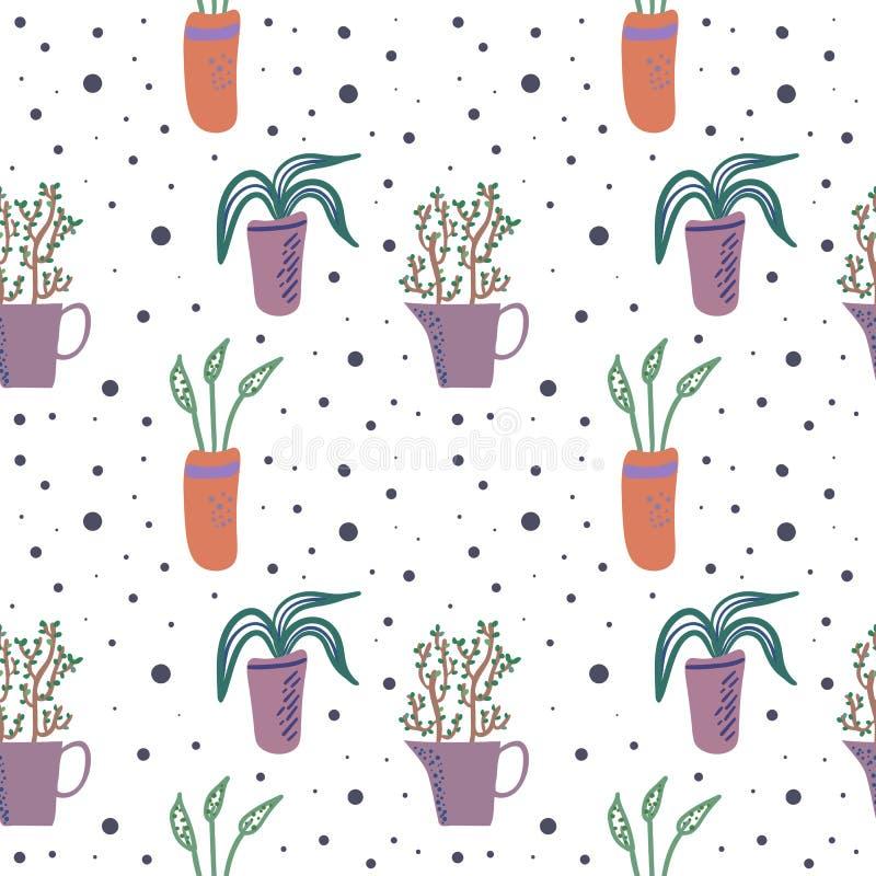 Διανυσματικό άνευ ραφής σχέδιο με τα houseplants στα δοχεία λουλουδιών απεικόνιση αποθεμάτων
