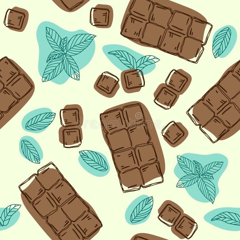 Διανυσματικό άνευ ραφής σχέδιο με τη γεύση σοκολάτας και μεντών τρόφιμα μπουλεττών ανασκόπησης πολύ κρέας πολύ συρμένος εικονογρά διανυσματική απεικόνιση
