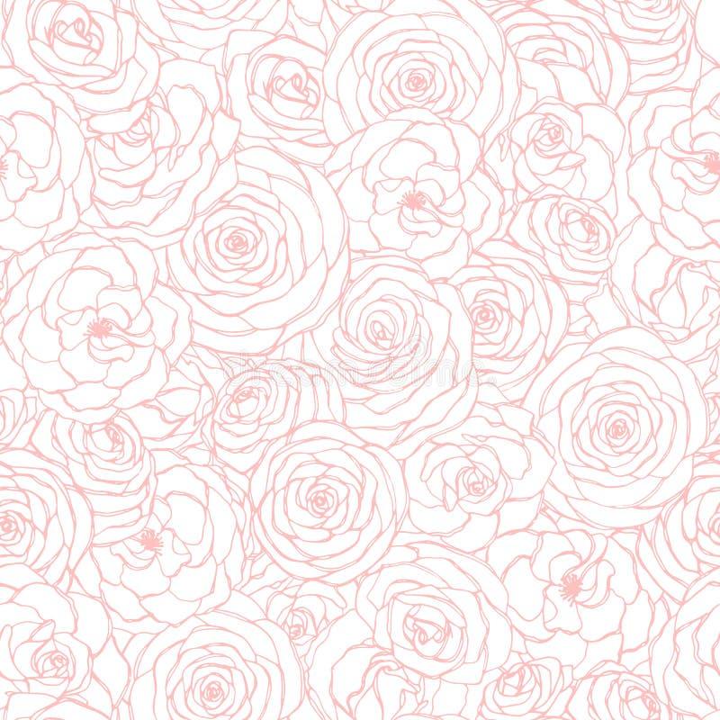 Διανυσματικό άνευ ραφής σχέδιο με τη ροδαλή ρόδινη περίληψη λουλουδιών στο άσπρο υπόβαθρο Συρμένου χέρι floral επαναλαμβάνει τη δ διανυσματική απεικόνιση
