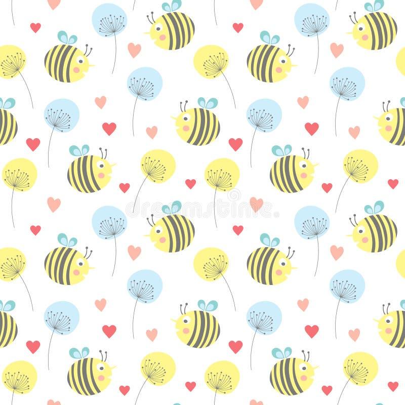 διανυσματικό άνευ ραφής σχέδιο με τις μέλισσες και τις καρδιές ελεύθερη απεικόνιση δικαιώματος
