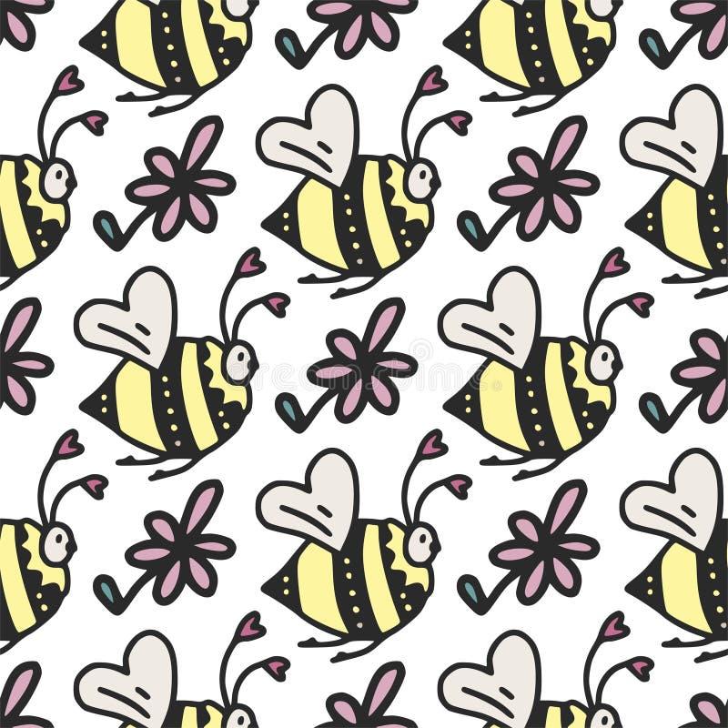 Διανυσματικό άνευ ραφής σχέδιο με τις χαριτωμένα μικρά μέλισσες, τις καρδιές και τα λουλούδια διανυσματική απεικόνιση