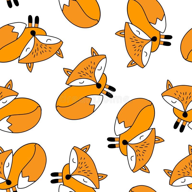 Διανυσματικό άνευ ραφής σχέδιο με τις χαριτωμένες αλεπούδες κινούμενων σχεδίων ελεύθερη απεικόνιση δικαιώματος