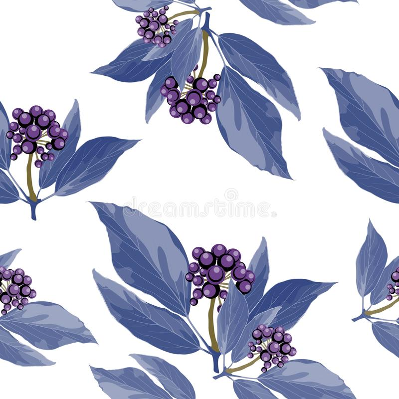 Διανυσματικό άνευ ραφής σχέδιο με τον μπλε κλάδο μούρων με τα ιώδη φύλλα συρμένη περίληψη απεικόνισ διανυσματική απεικόνιση