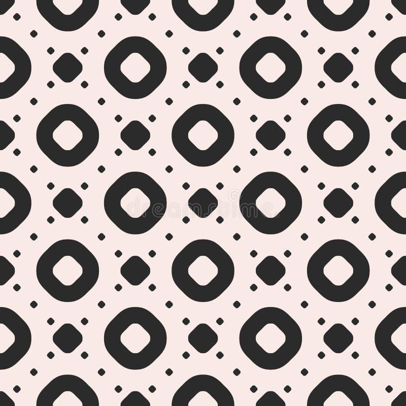 Διανυσματικό άνευ ραφής σχέδιο με τους κύκλους, τα δαχτυλίδια και τα σημεία Μονοχρωματική σύσταση απεικόνιση αποθεμάτων