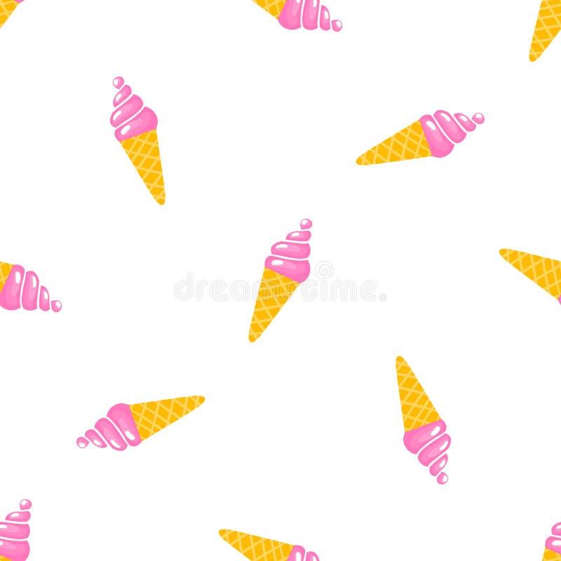 Διανυσματικό άνευ ραφής σχέδιο με το γλυκό παγωτό διανυσματική απεικόνιση
