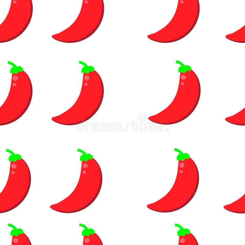 Διανυσματικό άνευ ραφής σχέδιο με το πιπέρι τσίλι διανυσματική απεικόνιση υποβάθρου πιπεριών τσίλι στοκ εικόνα