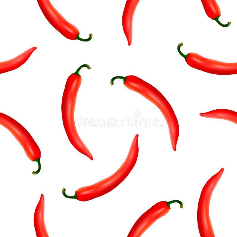 Διανυσματικό άνευ ραφής σχέδιο με το ρεαλιστικό κόκκινο - καυτά φυσικά πιπέρια τσίλι ελεύθερη απεικόνιση δικαιώματος