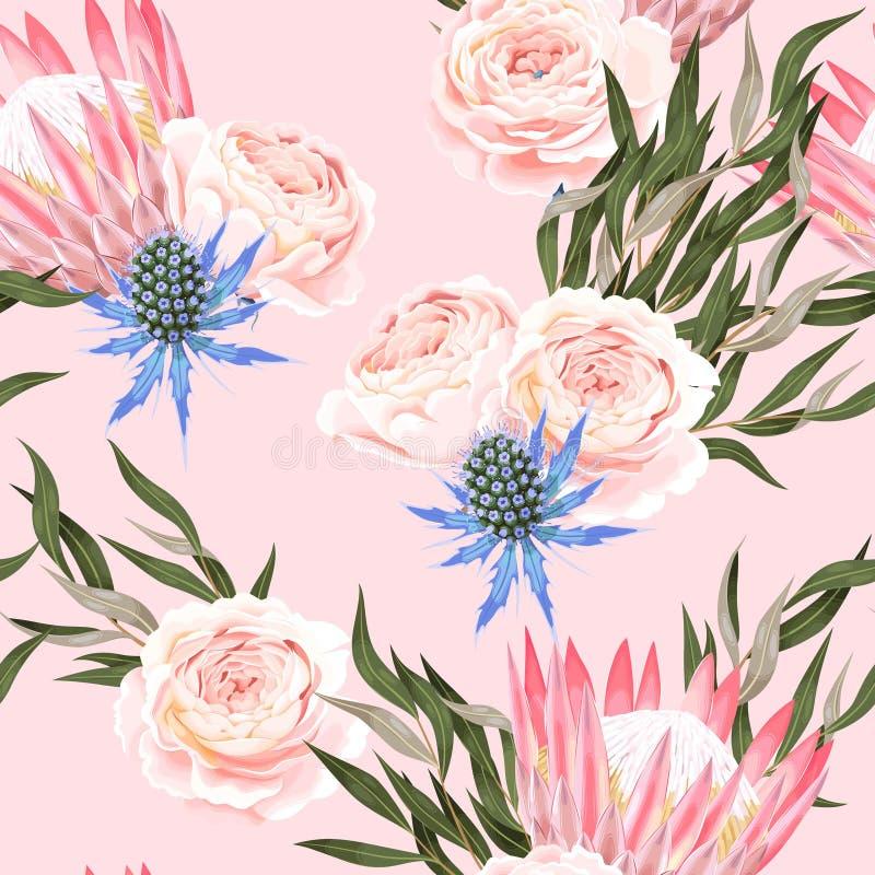 Διανυσματικό άνευ ραφής σχέδιο με το protea και τα τριαντάφυλλα διανυσματική απεικόνιση