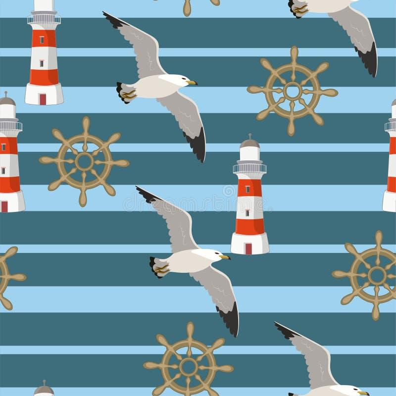 Διανυσματικό άνευ ραφής σχέδιο με seagulls που πετούν στο υπόβαθρο των λουρίδων, φάροι, handwheels Σχέδιο για τα υφάσματα, παιδιά διανυσματική απεικόνιση