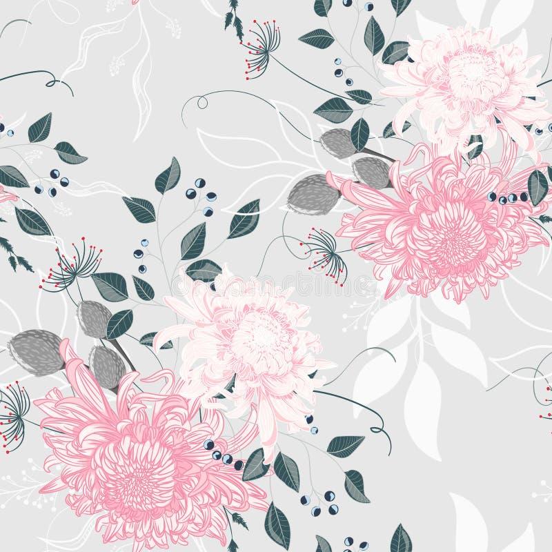 Διανυσματικό άνευ ραφής σχέδιο μιας όμορφης floral ανθοδέσμης με το ιαπωνικά χρυσάνθεμο και τα χορτάρια διανυσματική απεικόνιση