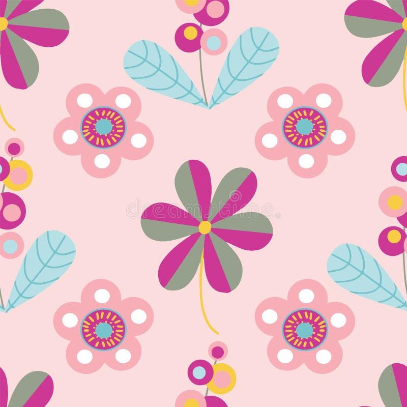 Διανυσματικό άνευ ραφής σχέδιο μοτίβων κρητιδογραφιών λαϊκό floral διανυσματική απεικόνιση