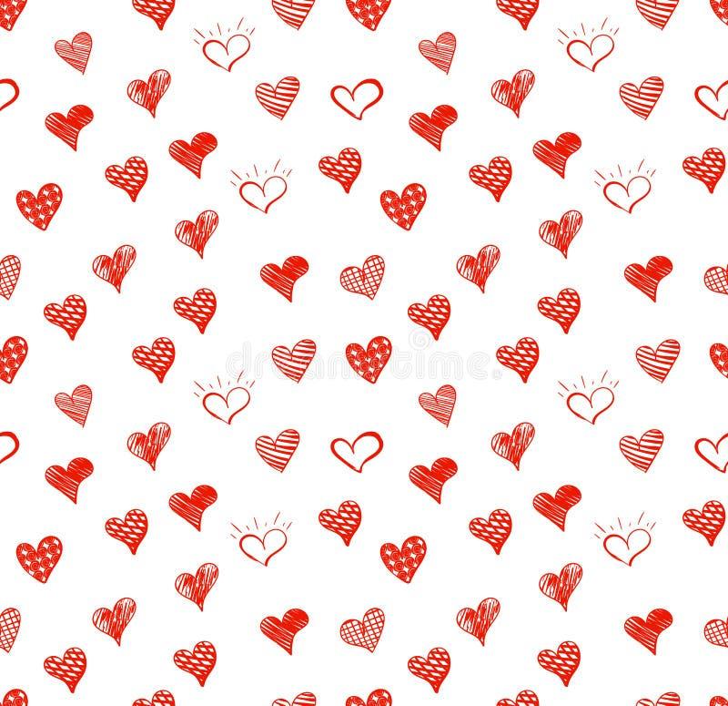 Διανυσματικό άνευ ραφής σχέδιο, πρότυπο υποβάθρου καρδιών Doodle, κόκκινα χρωματισμένα σύμβολα αγάπης που απομονώνονται στο άσπρο διανυσματική απεικόνιση