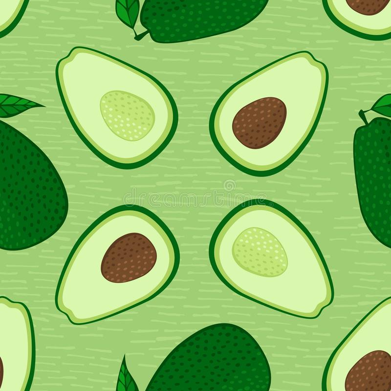 Διανυσματικό άνευ ραφής σχέδιο τροφίμων αβοκάντο Σύνολο και περικοπή στο μισό αβοκάντο με το κοίλωμα r Αγαθό για τη συσκευασία, ε διανυσματική απεικόνιση