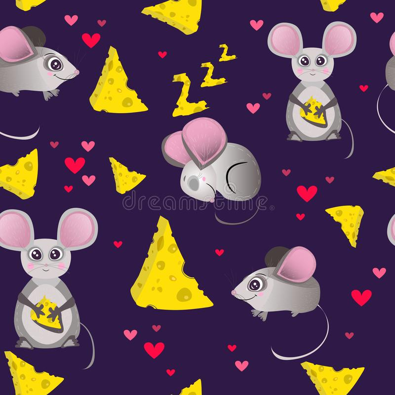 Διανυσματικό άνευ ραφής σχέδιο, τυπωμένη ύλη, ταπετσαρία με τα κινούμενα σχέδια, χαριτωμένος, αστείος χαρακτήρας Ποντίκι και τυρί ελεύθερη απεικόνιση δικαιώματος