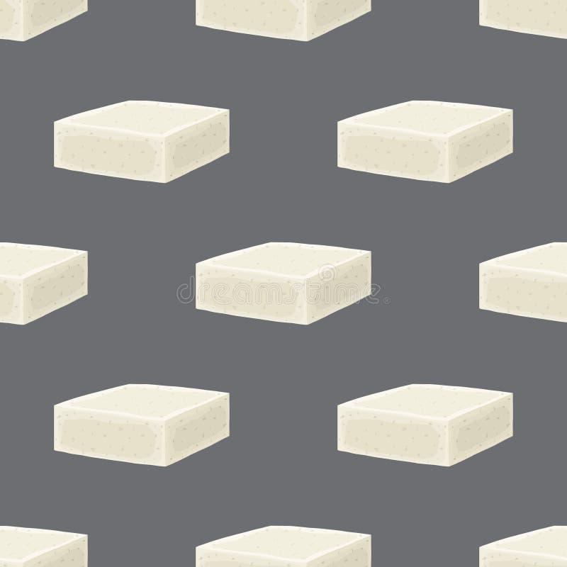 Διανυσματικό άνευ ραφής σχέδιο τυριών φέτας Φέτα, χοντρό κομμάτι στο επίπεδο ύφος κινούμενων σχεδίων απεικόνιση αποθεμάτων