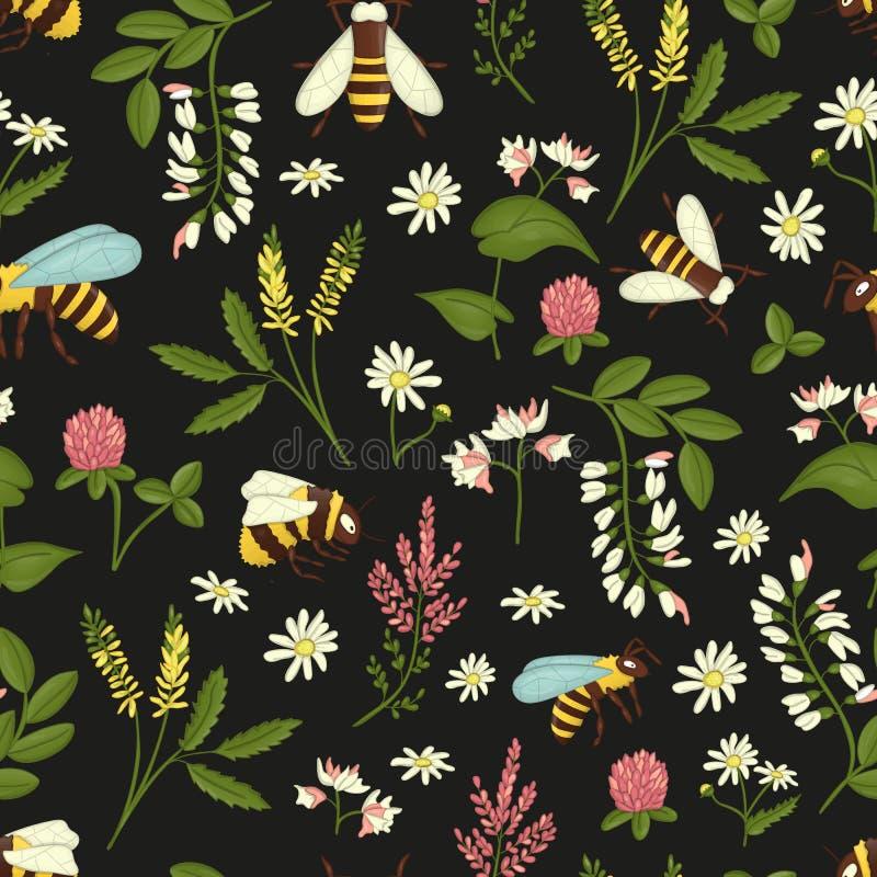 Διανυσματικό άνευ ραφής σχέδιο των άγρια λουλουδιών, των μελισσών και bumblebees διανυσματική απεικόνιση