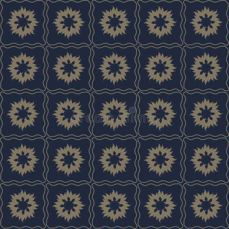 Διανυσματικό άνευ ραφής σχέδιο των αφηρημένων λουλουδιών στο λεπτό σκοτεινό χρώμα διανυσματική απεικόνιση