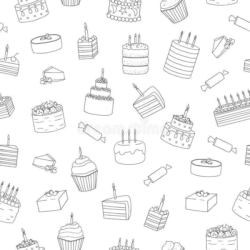 Διανυσματικό άνευ ραφής σχέδιο των γραπτών κέικ με τα κεριά ελεύθερη απεικόνιση δικαιώματος