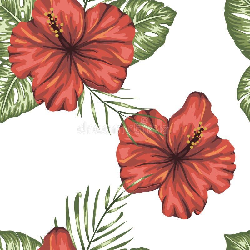 Διανυσματικό άνευ ραφής σχέδιο των πράσινων τροπικών φύλλων με τα κόκκινα hibiscus λουλούδια ελεύθερη απεικόνιση δικαιώματος