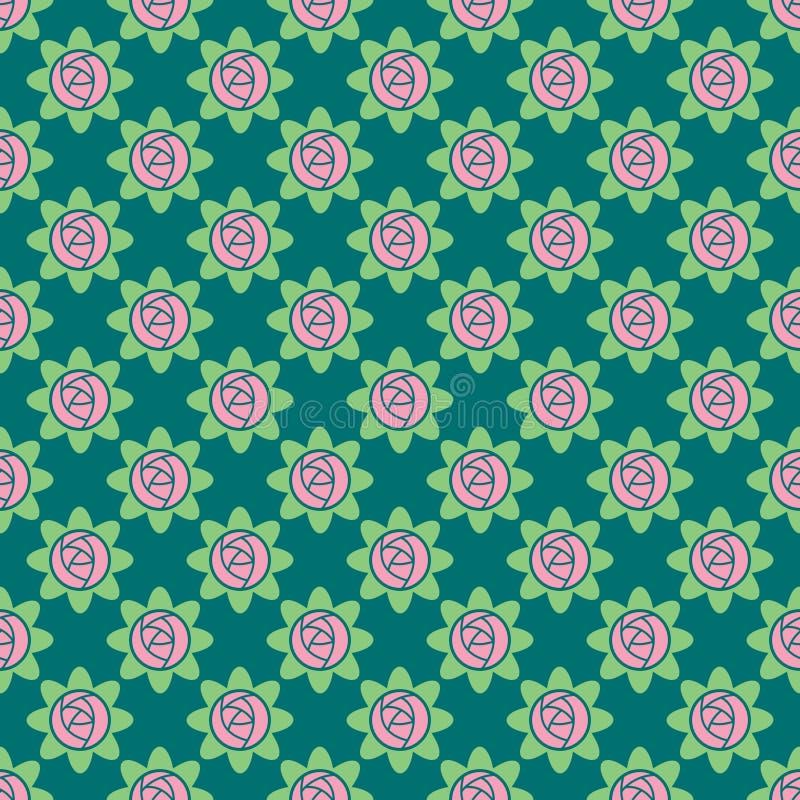 Διανυσματικό άνευ ραφής σχέδιο των τριαντάφυλλων διανυσματική απεικόνιση