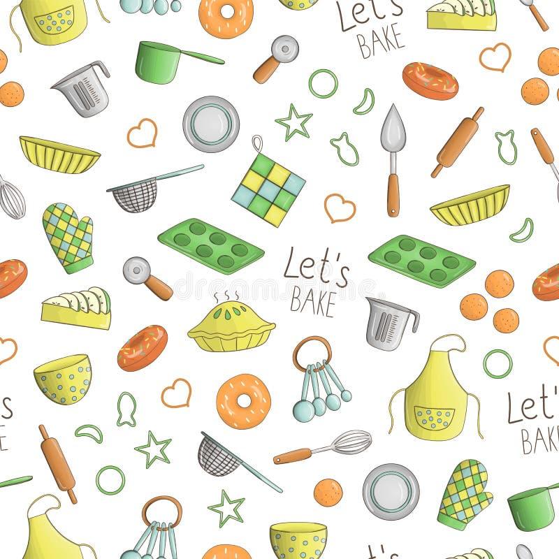 Διανυσματικό άνευ ραφής σχέδιο των χρωματισμένων εργαλείων κουζινών  ελεύθερη απεικόνιση δικαιώματος