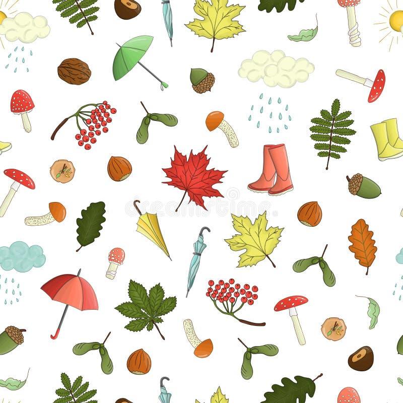 Διανυσματικό άνευ ραφής σχέδιο των χρωματισμένων στοιχείων φθινοπώρο απεικόνιση αποθεμάτων