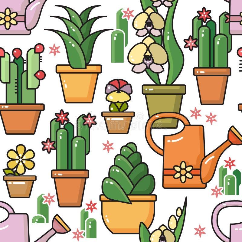Διανυσματικό άνευ ραφής σχέδιο των houseplants στα κεραμικά δοχεία απεικόνιση αποθεμάτων