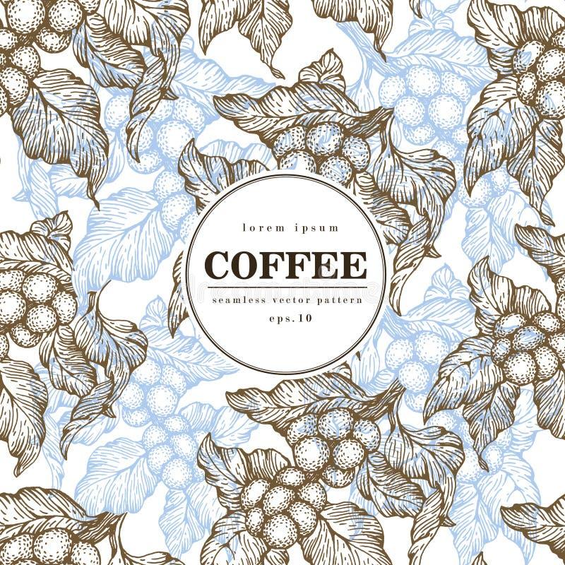 Διανυσματικό άνευ ραφής σχέδιο φασολιών καφέ Χαραγμένη εκλεκτής ποιότητας απεικόνιση ύφους καφές φασολιών οργανικό&sigma πρότυπο  ελεύθερη απεικόνιση δικαιώματος