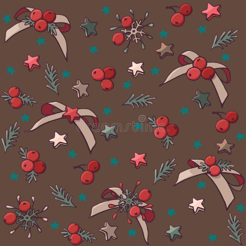 Διανυσματικό άνευ ραφής σχέδιο Χριστουγέννων με τα τόξα, τα αστέρια και τα μούρα ελεύθερη απεικόνιση δικαιώματος