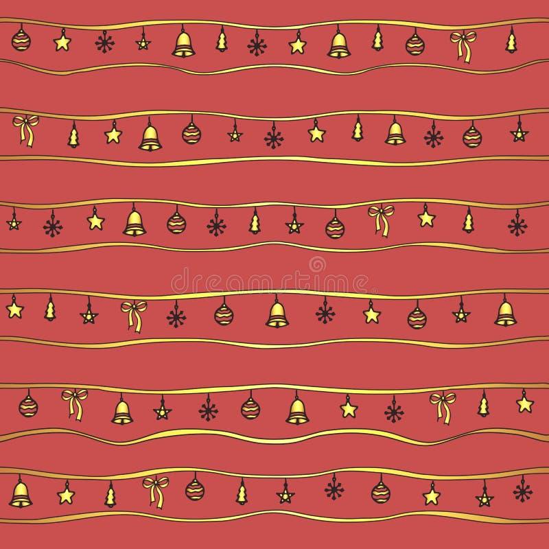 Διανυσματικό άνευ ραφής σχέδιο Χριστουγέννων με τη χρυσά γιρλάντα και τα παιχνίδια: τα τόξα, τα κουδούνια, οι σφαίρες, τα δέντρα  απεικόνιση αποθεμάτων