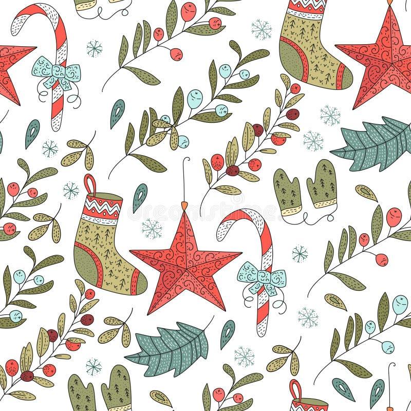 Διανυσματικό άνευ ραφής σχέδιο Χριστουγέννων με τις λεπτομερείς απεικονίσεις διακοπών ελεύθερη απεικόνιση δικαιώματος