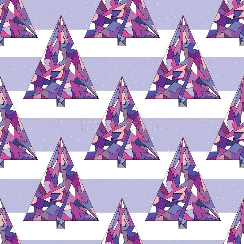 Διανυσματικό άνευ ραφής σχέδιο χριστουγεννιάτικων δέντρων ανασκόπηση καλή χρονιά Σύσταση διακοπών χειμερινών Χριστουγέννων για το απεικόνιση αποθεμάτων