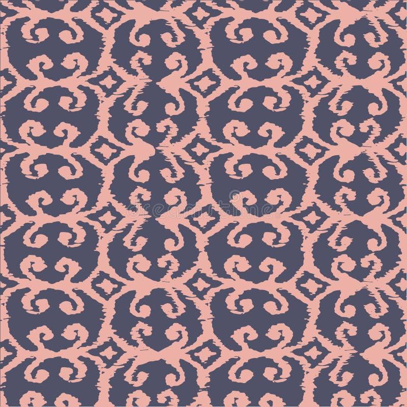 Διανυσματικό άνευ ραφής σχέδιο ikat με το ροζ και την πασχαλιά ελεύθερη απεικόνιση δικαιώματος