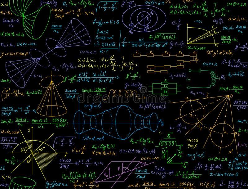 Διανυσματικό άνευ ραφής σχέδιο Math με τους χειρόγραφους πολύχρωμους τύπους, υπολογισμοί, εξισώσεις απεικόνιση αποθεμάτων