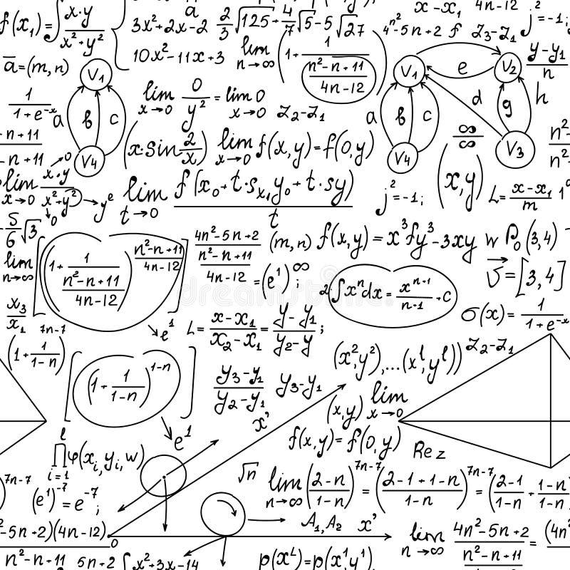 Διανυσματικό άνευ ραφής σχέδιο Math με τους χειρόγραφους τύπους, υπολογισμοί, εξισώσεις διανυσματική απεικόνιση