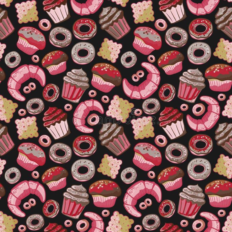 Διανυσματικό άνευ ραφής σχέδιο αρτοποιείων τροφίμων με τα ψημένα αγαθά Προϊόντα αλευριού από το κατάστημα ζύμης Απεικόνιση για τη απεικόνιση αποθεμάτων