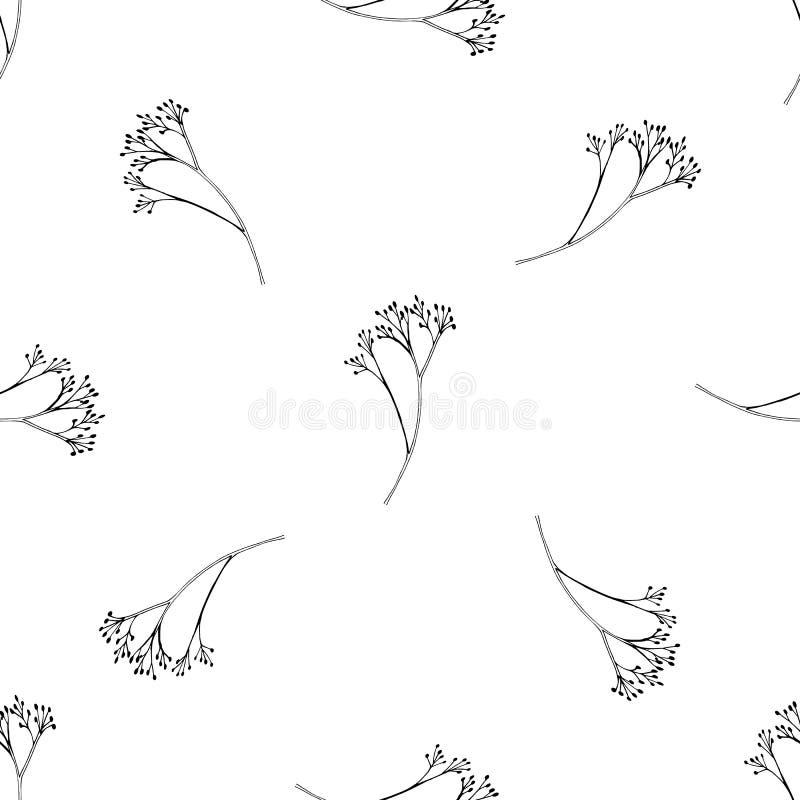 Διανυσματικό άνευ ραφής σχέδιο με συρμένα τα χέρι χορτάρια Βοτανικό υπόβαθρο στα γραπτά χρώματα απεικόνιση αποθεμάτων