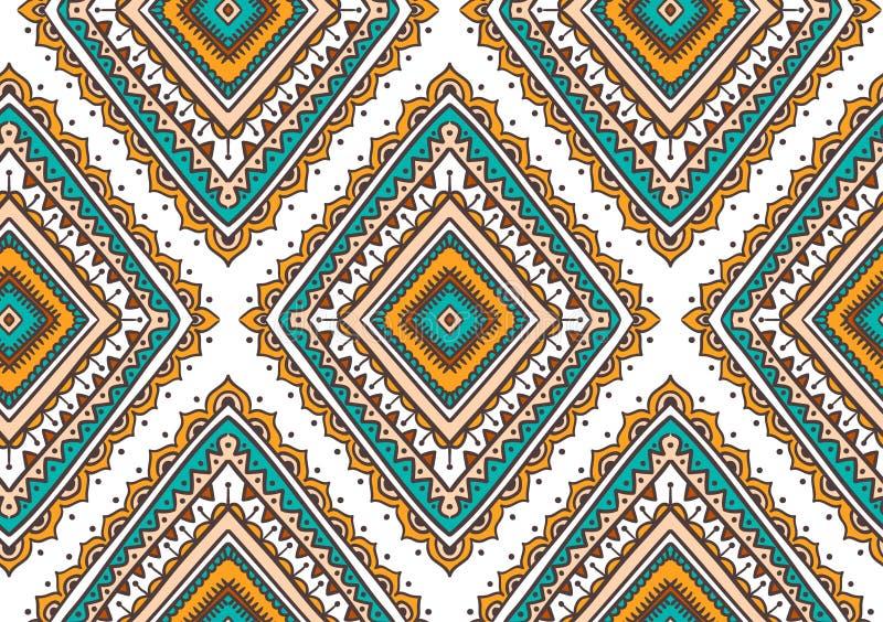 Διανυσματικό άνευ ραφής σχέδιο με τα εθνικά φυλετικά διακοσμητικά rhombuses Μοντέρνο υπόβαθρο Boho και χίπηδων διανυσματική απεικόνιση
