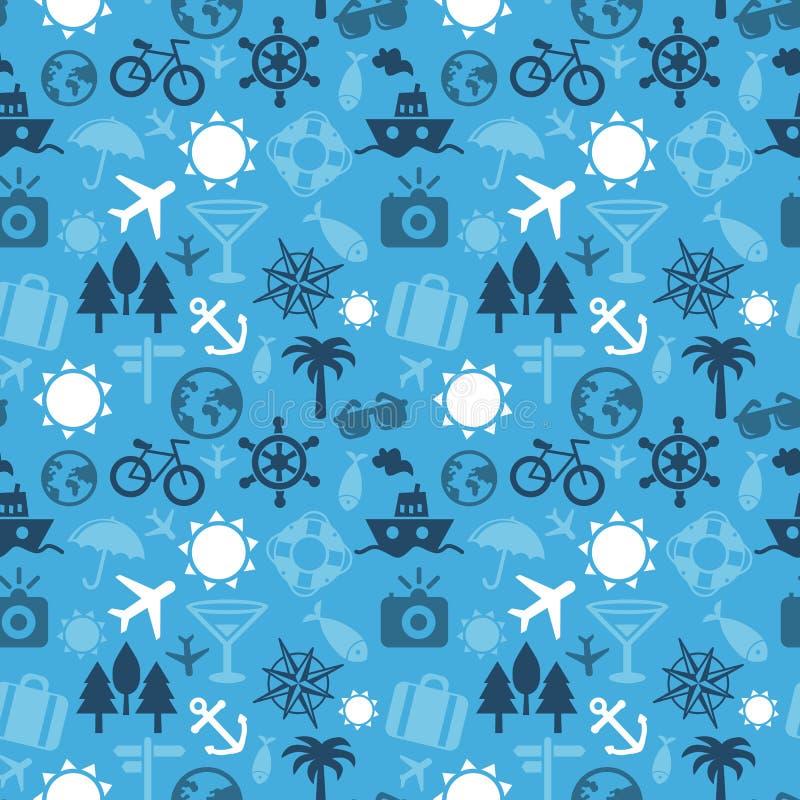 Διανυσματικό άνευ ραφής σχέδιο με τα εικονίδια ταξιδιού διανυσματική απεικόνιση