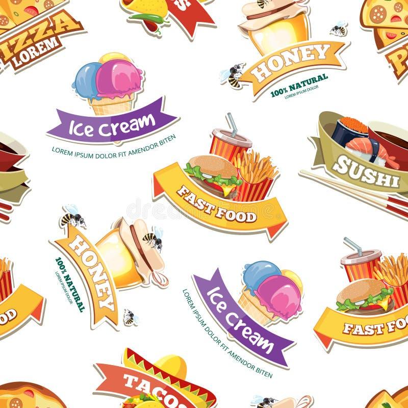 Διανυσματικό άνευ ραφής σχέδιο με τα εμβλήματα των απεικονίσεων τροφίμων απεικόνιση αποθεμάτων