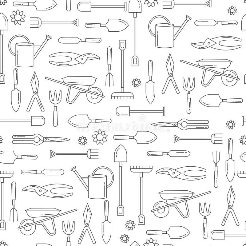 Διανυσματικό άνευ ραφής σχέδιο με τα εργαλεία κήπων Υπόβαθρο ιστοχώρου με το εικονίδιο εργαλείων κηπουρικής διανυσματική απεικόνιση