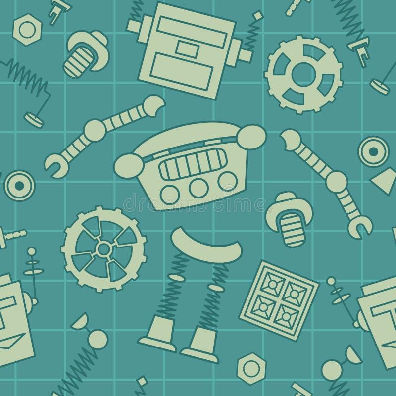 Διανυσματικό άνευ ραφής σχέδιο με τα μέρη και τις λεπτομέρειες ρομπότ διανυσματική απεικόνιση