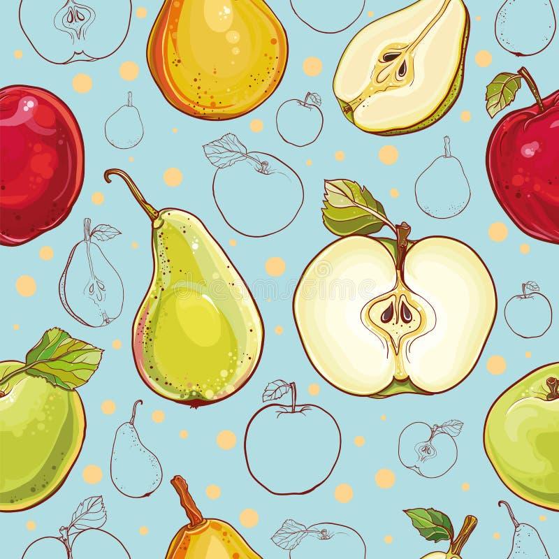 Διανυσματικό άνευ ραφής σχέδιο με τα μήλα και τα αχλάδια διανυσματική απεικόνιση