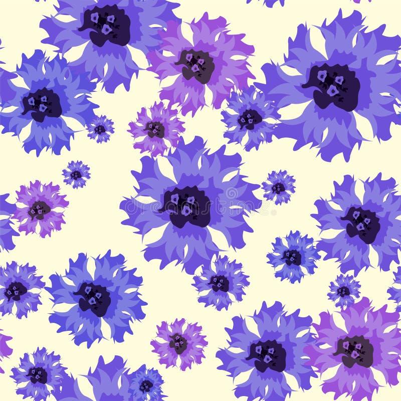 Διανυσματικό άνευ ραφής σχέδιο με τα μπλε cornflowers στο λευκό απεικόνιση αποθεμάτων