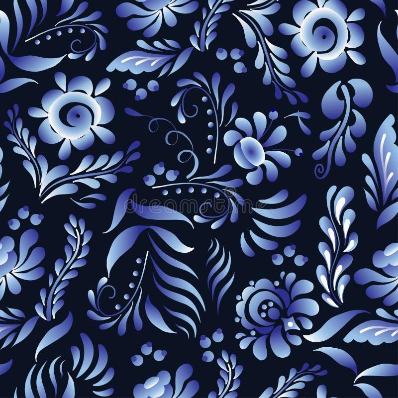 Διανυσματικό άνευ ραφής σχέδιο με τα λουλούδια και τα φύλλα στο ρωσικό ύφος Gzhel Λαϊκό υπόβαθρο για το κλωστοϋφαντουργικό προϊόν διανυσματική απεικόνιση