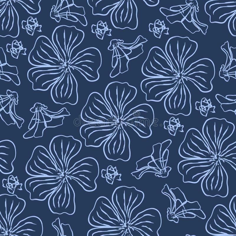 Διανυσματικό άνευ ραφής σχέδιο με τα λουλούδια και τους οφθαλμούς απεικόνιση αποθεμάτων