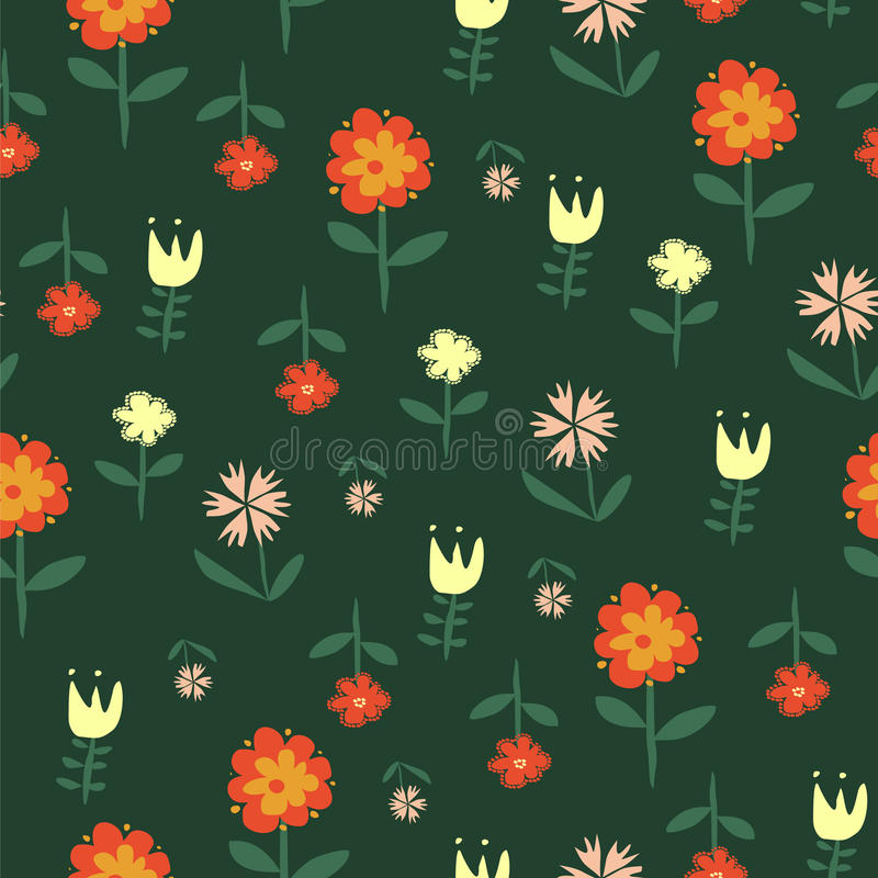 Διανυσματικό άνευ ραφής σχέδιο με τα λουλούδια των doodles απεικόνιση αποθεμάτων