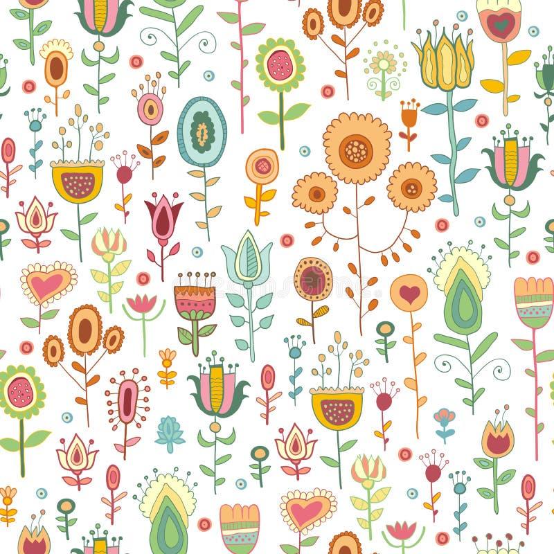 Διανυσματικό άνευ ραφής σχέδιο με τα λουλούδια doodles ελεύθερη απεικόνιση δικαιώματος
